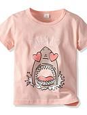 baratos Moletons Para Meninas-Infantil Para Meninas Básico Estampado Manga Curta Algodão Camiseta Rosa