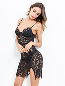 hesapli Kadın Elbiseleri-Kadın's sofistike Zarif Bandaj Little Black Elbise - Solid, Dantel Arkasız Bölünmüş Diz üstü