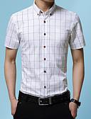 hesapli Gömlekler-Erkek Gömlek Kareli Çin Stili Şarap