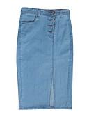 hesapli Kadın Etekleri-Kadın's sofistike Kot Kumaşı Bandaj Etekler - Solid Kırk Yama Havuz Açık Mavi XL XXL XXXL / Dar / İnce