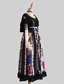 povoljno Igračke i hobiji-Gothic Style Vintage Gothic Lolita Haljine Kostim za party Kostim Odjeća za tulumu Ženska Japanski Cosplay Kostimi Crn Cvijetni print Vintage Čipka Flare rukav Kratkih rukava Dugi Duljina
