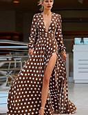 hesapli Print Dresses-Kadın's Boho sofistike Çan Elbise - Yuvarlak Noktalı Geometrik, Desen Derin V Maksi Flamingolar orangutan Gül