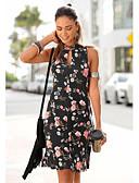 זול שמלות נשים-מעל הברך דפוס, פרחוני - שמלה צינור בסיסי בגדי ריקוד נשים