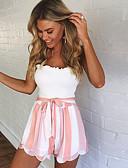 billige Tights til damer-Dame Sporty / Gatemote Shorts Bukser - Stripet BLå & Hvit / Svart og hvit, Multi Layer Grønn Svart Rosa L XL XXL