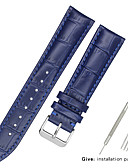 זול רצועת שעונים-עור אמיתי / עור / Calf Hair צפו בנד רצועה ל שחור / לבן / כחול אחר / 17cm / 6.69 אינץ ' / 19cm / 7.48 אינצ'ים 1.2cm / 0.47 אינצ'ים / 1.3cm / 0.5 אינצ'ים / 1.4cm / 0.55 אינצ'ים