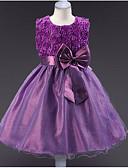 זול שמלות לילדות פרחים-נסיכה באורך  הברך שמלה לנערת הפרחים  - פוליאסטר / טול ללא שרוולים עם תכשיטים עם אפליקציות / פפיון(ים) / חגורה על ידי LAN TING Express