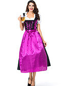 hesapli Oktoberfest-Kasım Festivali üstü dar altı geniş elbise Trachtenkleider Kadın's Elbise Bavyera Kostüm Koyu Mor