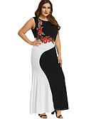 hesapli Büyük Beden Elbiseleri-Kadın's Temel Zarif Bandaj Kombinezon Kılıf Elbise - Geometrik Zıt Renkli, Kırk Yama Midi