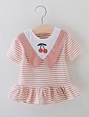 זול שמלות לתינוקות-שמלה מעל הברך שרוולים קצרים דפוס פירות ורד מאובק בסיסי בנות תִינוֹק / פעוטות