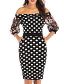 hesapli Romantik Dantel-Kadın's sofistike Zarif Bandaj Elbise - Yuvarlak Noktalı, Örümcek Ağı Kırk Yama Diz üstü