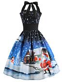 halpa Tyttöjen mekot-Naisten Vintage Katutyyli Sifonki Mekko - Kukka, Painettu Midi Joulupukki