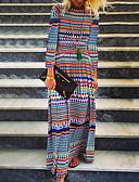 hesapli NYE Elbiseleri-Kadın's Boho Sokak Şıklığı Salaş Kombinezon Elbise - Geometrik, Desen Maksi