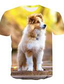 hesapli Erkek Tişörtleri ve Atletleri-Erkek Yuvarlak Yaka Tişört Desen, 3D / Hayvan Temel Büyük Bedenler Sarı / Kısa Kollu