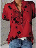 hesapli Gömlek-Kadın's V Yaka Gömlek Çiçek / Desen, Çiçekli Beyaz / Bahar / Yaz / Sonbahar