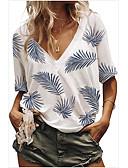 hesapli Tişört-Kadın's Tişört Desen, Geometrik Temel Açık Mavi