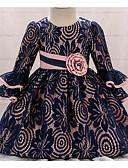 זול שמלות לילדות פרחים-נסיכה באורך  הברך שמלה לנערת הפרחים  - תחרה שרוול ארוך עם תכשיטים עם פפיון(ים) / דוגמא \ הדפס על ידי LAN TING Express