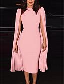 hesapli Print Dresses-Kadın's Sokak Şıklığı Bandaj Elbise - Solid, Kırk Yama Midi