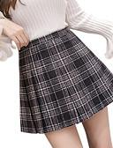 cheap Women's Skirts-Women's Sexy Mini Swing Skirts - Plaid Pleated Gray M L XL