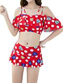 hesapli Bikiniler ve Mayolar-Kadın's Havuz YAKUT Tankini Mayolar - Yuvarlak Noktalı Tek Boyut Havuz