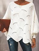 abordables Chemises Femme-Femme Couleur Pleine Manches Longues Pullover, Décolleté Rose Claire / Gris / Jaune XL / XXL / XXXL