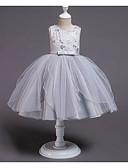 זול שמלות לילדות פרחים-נסיכה באורך  הברך שמלה לנערת הפרחים  - פוליאסטר / טול ללא שרוולים עם תכשיטים עם פפיון(ים) / ריקמה / חגורה על ידי LAN TING Express