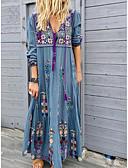 hesapli Mini Elbiseler-Kadın's Sokak Şıklığı Salaş Kombinezon Elbise - Çiçekli, Desen Derin V Maksi