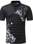 """זול חולצות פולו לגברים-גיאומטרי צווארון חולצה האיחוד האירופי / ארה""""ב גודל Polo - בגדי ריקוד גברים שחור / שרוולים קצרים"""