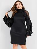 hesapli Maksi Elbiseler-Kadın's Zarif Bandaj Elbise - Solid, Fırfırlı Örümcek Ağı Kırk Yama Diz üstü