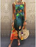 hesapli Print Dresses-kadın midi salıncak elbise askısı yeşil m l xl xxl