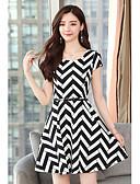hesapli Print Dresses-Kadın's A Şekilli Elbise - Çizgili Diz üstü