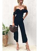 hesapli Kadın Pantolonl-Kadın's Temel Geniş Bacak Pantolon - Solid Siyah, Kırk Yama Siyah M L XL