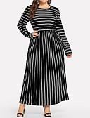 hesapli Büyük Beden Elbiseleri-Kadın's Temel Abaya Kaftan Elbise - Çizgili Maksi