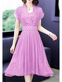 hesapli Print Dresses-Kadın's Çan Elbise - Yuvarlak Noktalı Maksi