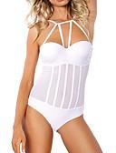 hesapli Bikiniler ve Mayolar-Kadın's Siyah Beyaz Tek Parçalılar Mayolar - Solid S M L Siyah