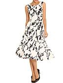 hesapli Günlük Elbiseler-Kadın's A Şekilli Elbise - Geometrik Midi