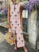hesapli Kadın Elbiseleri-Kadın's Kombinezon Elbise - Çiçekli Maksi