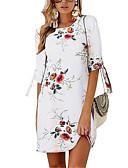 hesapli Print Dresses-Kadın's Kombinezon Elbise - Çiçekli Diz üstü