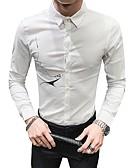 hesapli Gömlekler-Erkek Gömlek Solid Temel Beyaz