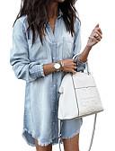 hesapli Mini Elbiseler-Kadın's A Şekilli Elbise - Çizgili Diz üstü