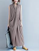 hesapli Kadın Elbiseleri-Kadın's Vintage Çin Stili Abaya Elbise - Solid, Bölünmüş Wrap Midi