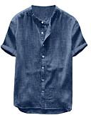 זול חולצות לגברים-אחיד צווארון עומד(סיני) חולצה - בגדי ריקוד גברים תלתן / שרוולים קצרים