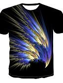hesapli Erkek Tişörtleri ve Atletleri-Erkek Pamuklu Yuvarlak Yaka Tişört Desen, Geometrik / 3D Punk ve Gotik Siyah / Kısa Kollu