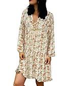 hesapli Print Dresses-Kadın's Gömlek Elbise - Çiçekli Diz üstü