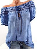 povoljno Bluza-Veći konfekcijski brojevi Bluza Žene - Osnovni Kauzalni / Plus veličine Jednobojni Spuštena ramena Čipka / Vezanje straga / Kolaž Blushing Pink