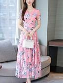 hesapli Print Dresses-Kadın's Temel Kombinezon Kılıf Elbise - Çiçekli Maksi