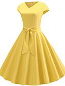hesapli Vintage Kraliçesi-Kadın's Vintage Boho Çan Elbise - Solid, Kırk Yama Büzgülü V Yaka Midi