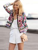 hesapli Kadın Kapşonluları-Kadın's Günlük Sokak Şıklığı Yaz / Sonbahar Normal Ceketler, Bitkiler Yuvarlak Yaka Uzun Kollu Polyester Desen Gökküşağı / Salaş