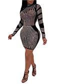 hesapli Kadın Elbiseleri-Kadın's Kılıf Elbise - Zıt Renkli, Payetler Mini