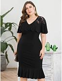 זול שמלות במידות גדולות-מידי תחרה, אחיד - שמלה נדן בתולת ים \חצוצרה בסיסי מתוחכם בגדי ריקוד נשים
