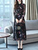 hesapli Print Dresses-Kadın's Zarif A Şekilli Elbise - Hayvan, Bağcık Desen Midi